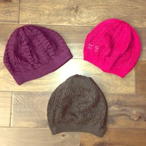 BUNDLE | Purple, Pink, and Grey Loose Knit Hats